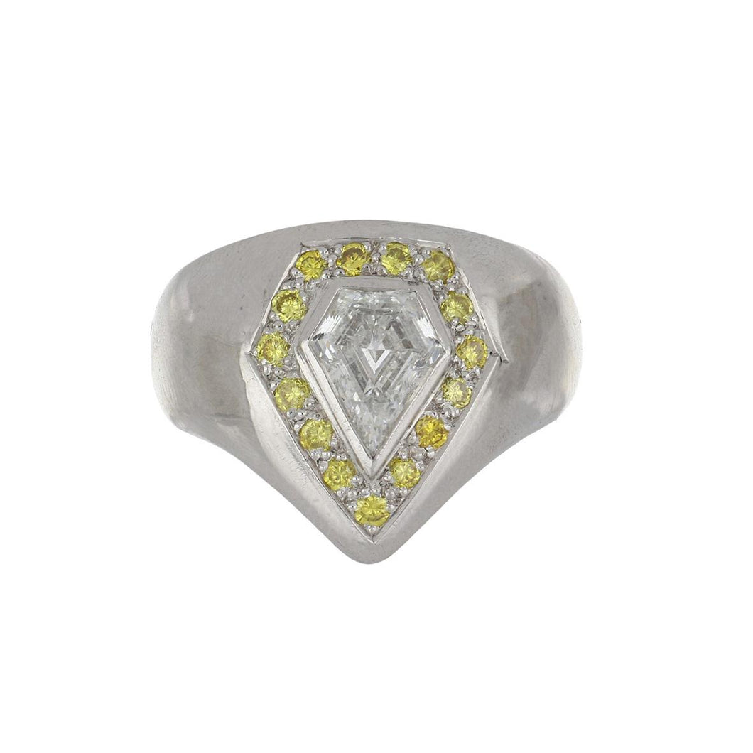 Estate 18K White Gold Yellow and White Kite Shape Diamond Ring