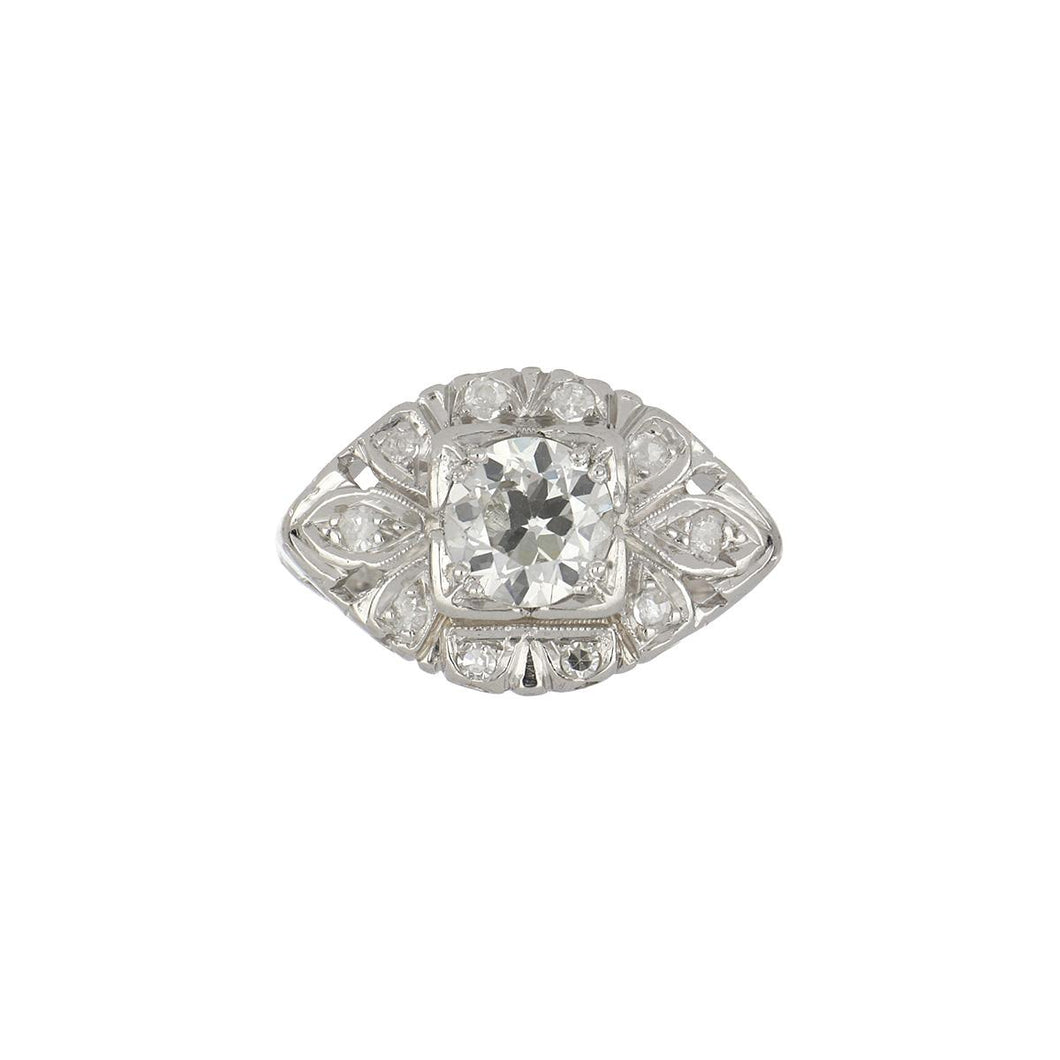 Art Deco Platinum Old European-Cut Diamond Engagement Ring with Diamond Frame