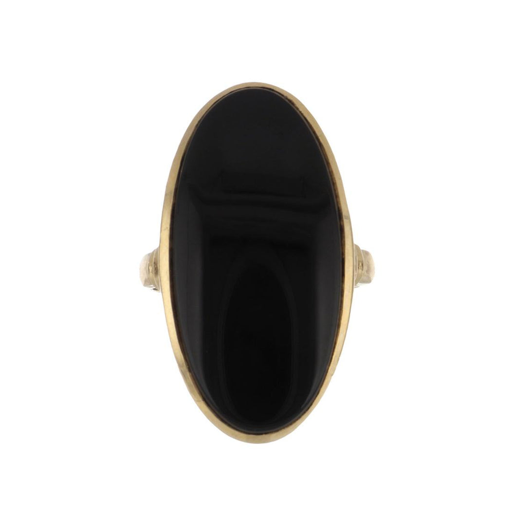 Estate 10K Gold Large Oval Cabochon Black Onyx Ring