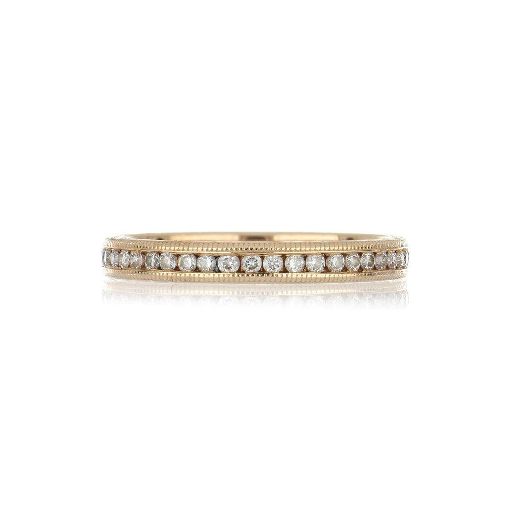 18K Rose Gold Millegrain Channel-Set Diamond Eternity Band
