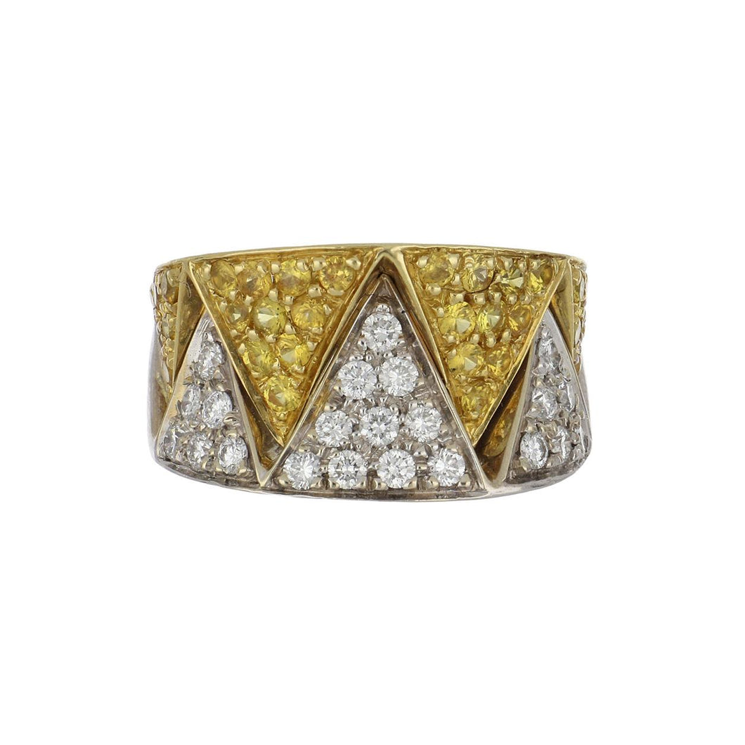 Estate 18K Two-Tone Gold Diamond and Yellow Sapphire Zigzag Ring