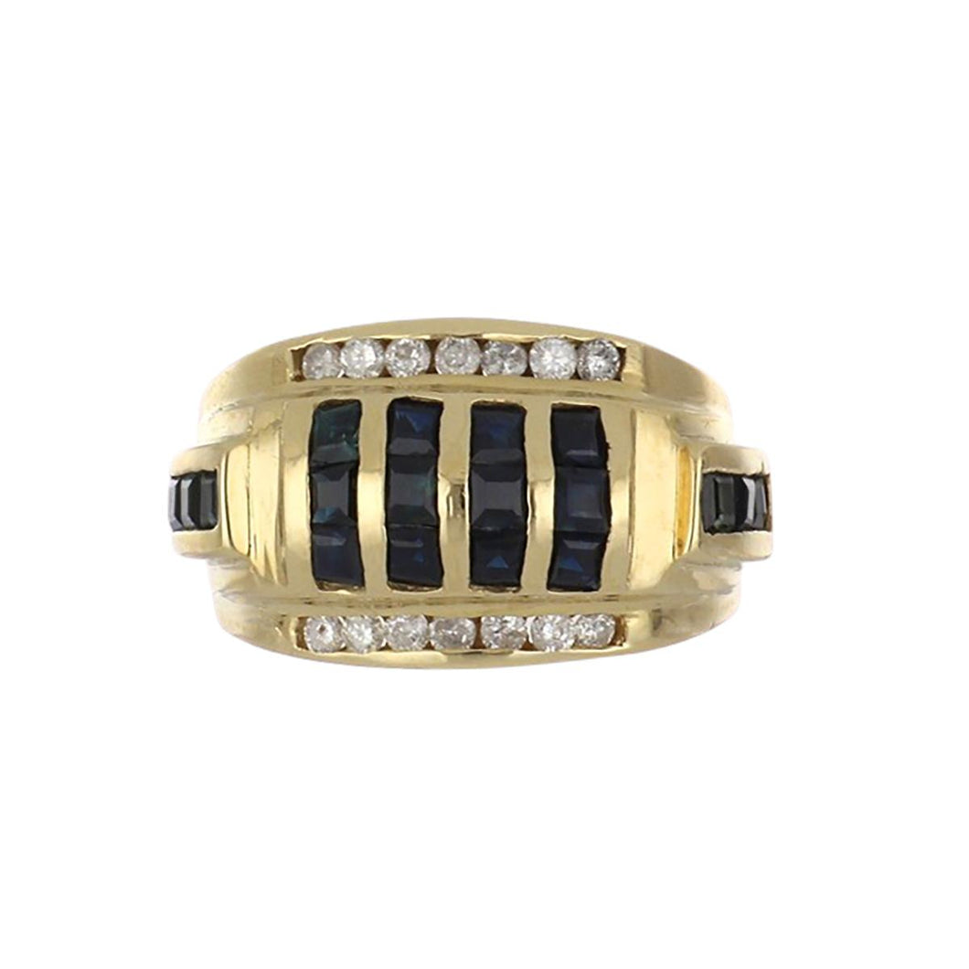 Estate 14K Gold Sapphire and Diamond Ring