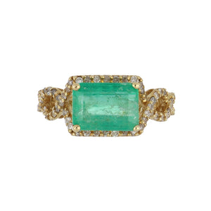 Estate 14K Gold Emerald and Diamond Openwork Ring