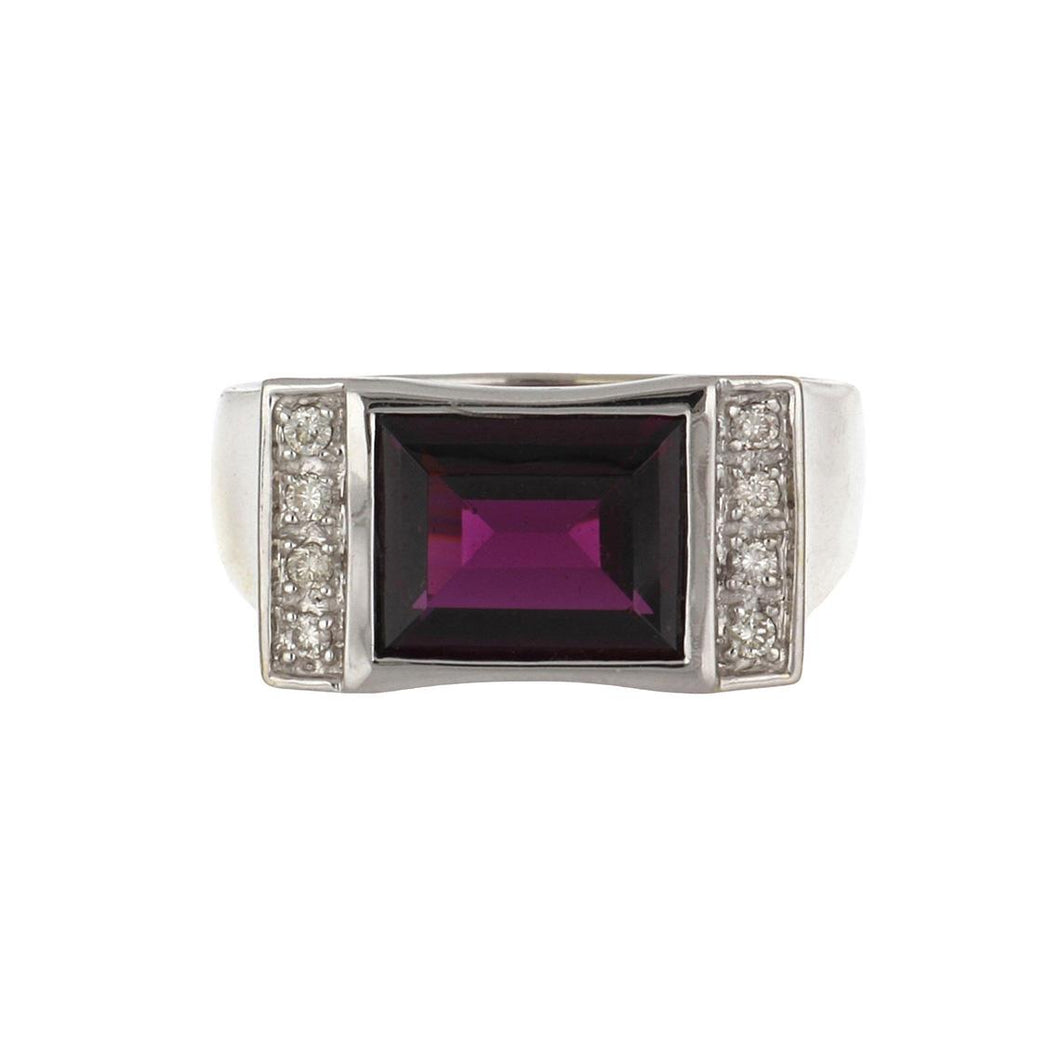 Estate 14K White Gold Garnet Ring with Diamonds