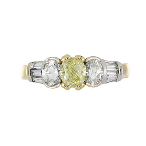 Estate 18K Yellow & White Gold Fancy Yellow Oval Diamond Ring