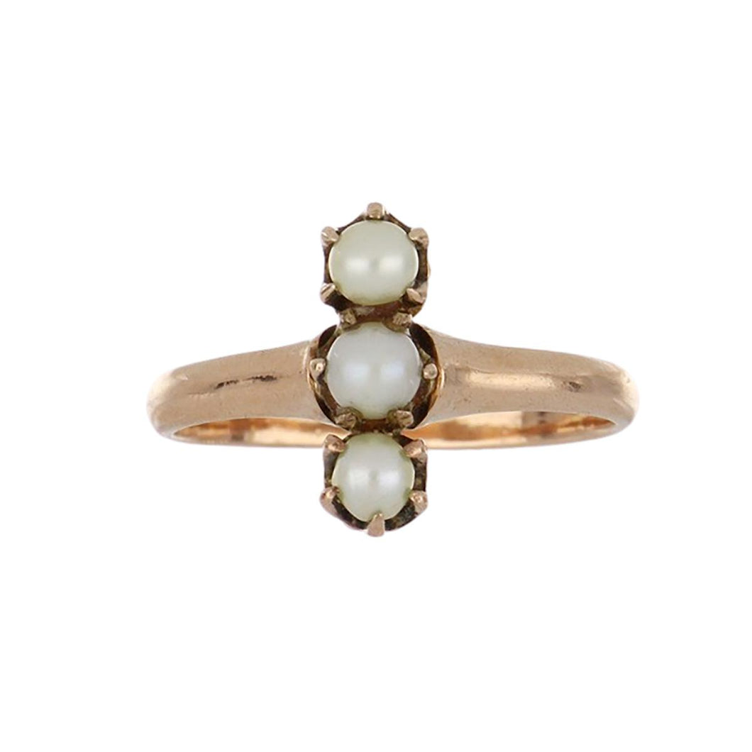 Edwardian 10K Rose Gold Triple Cultured Pearl Ring