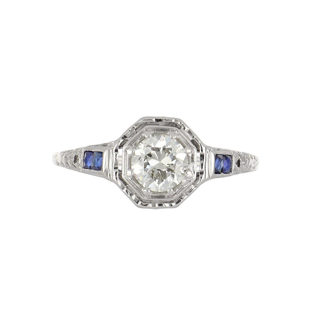 Art Deco 18K White Gold Diamond Engagement Ring with Sapphires