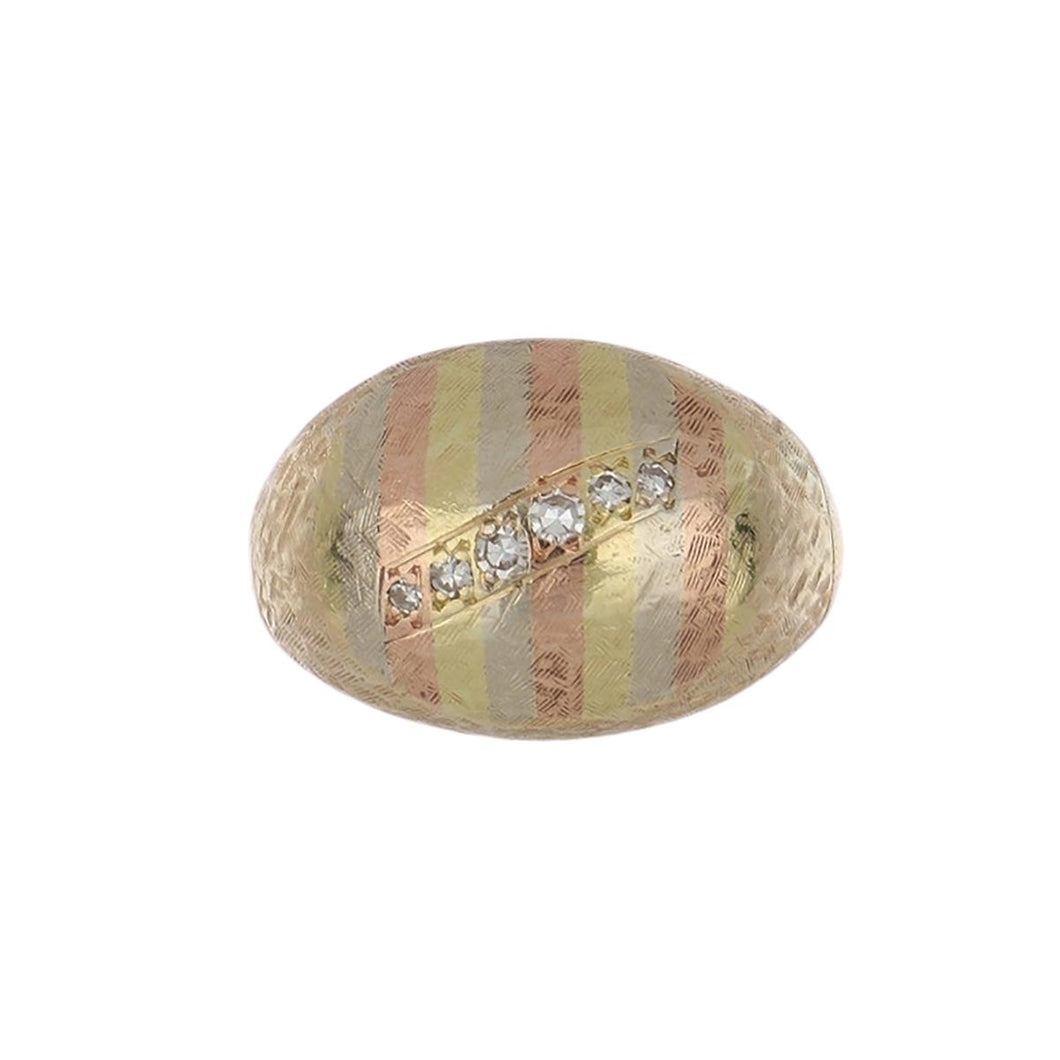 Edwardian 14K Tri-Color Gold Textured Dome Ring with Diamonds