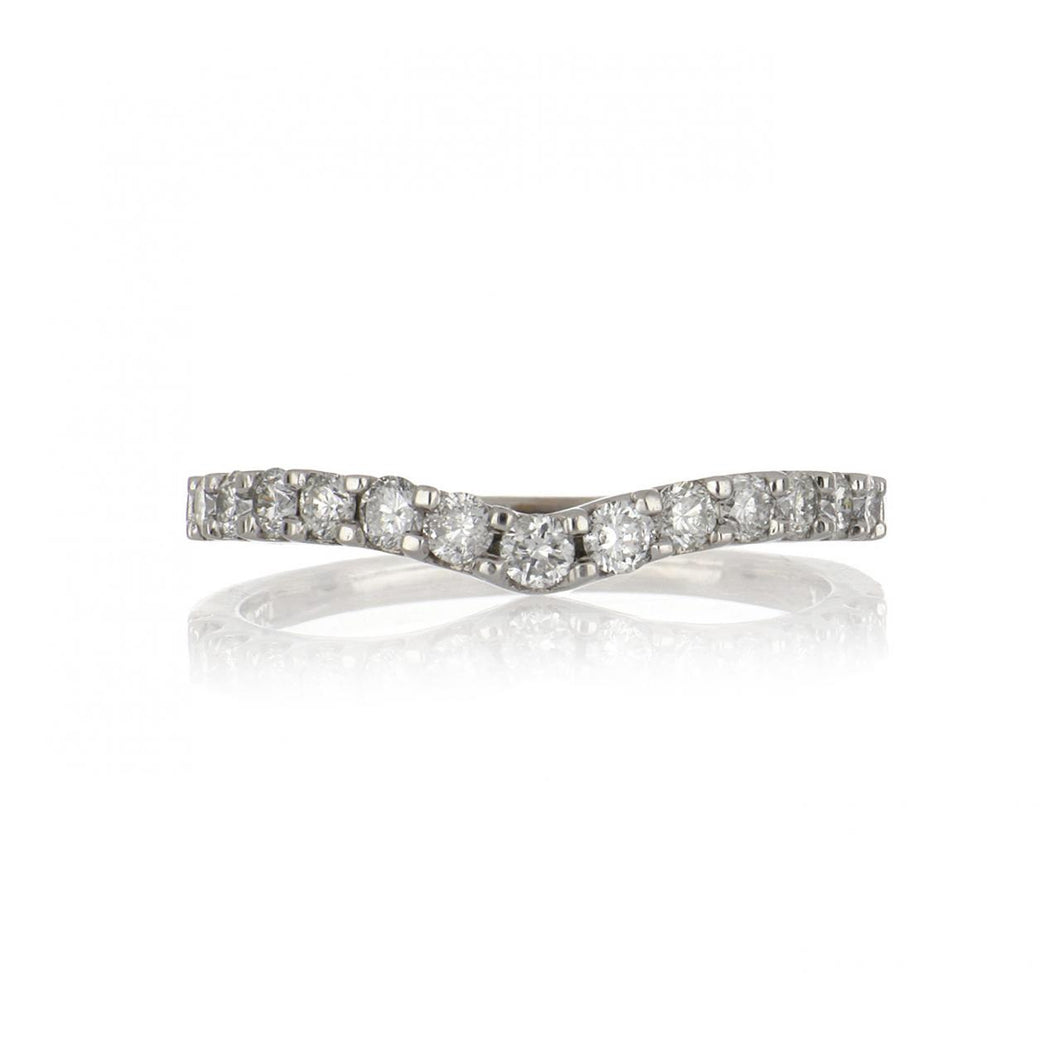 Estate 14K White Gold Shaped Band with Diamonds