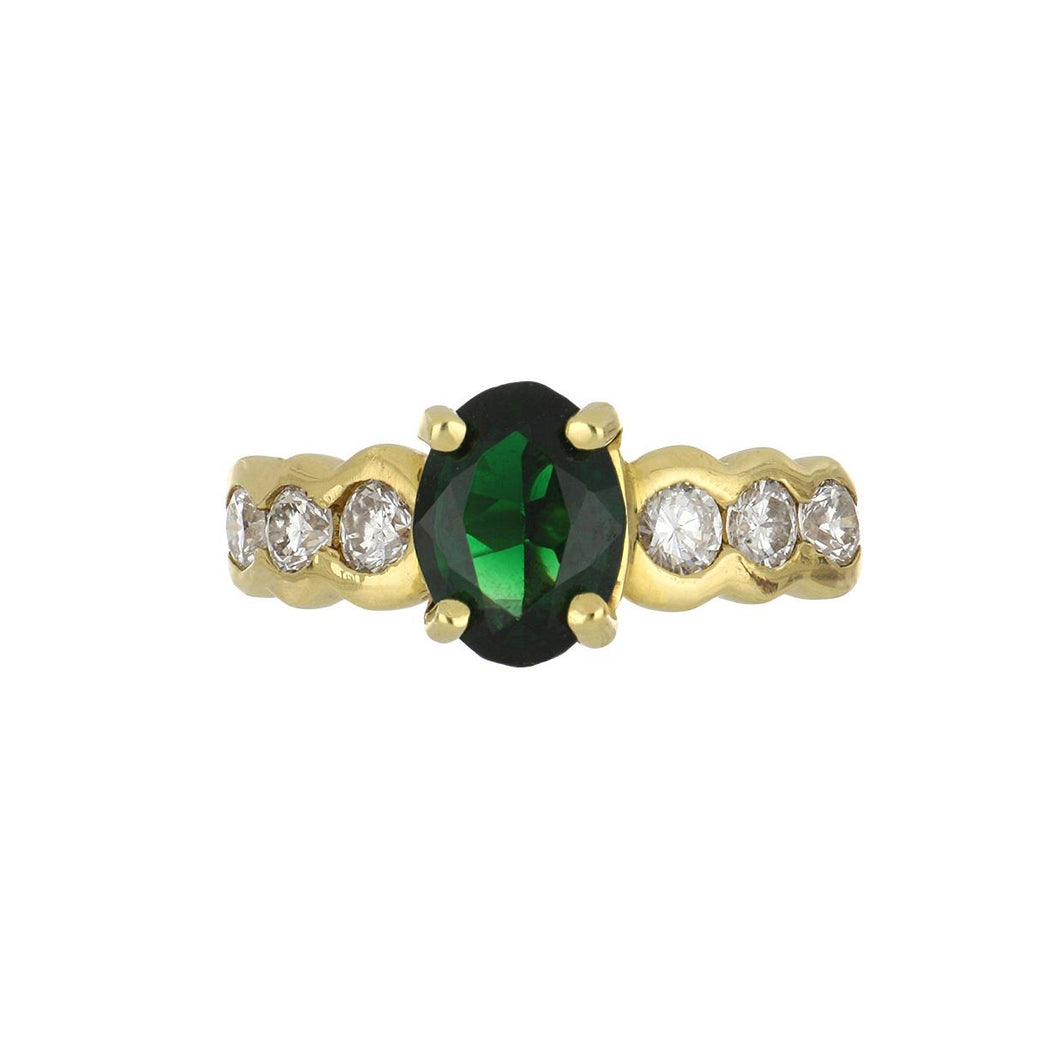 Estate 18K Gold Green Tourmaline Ring with Diamonds