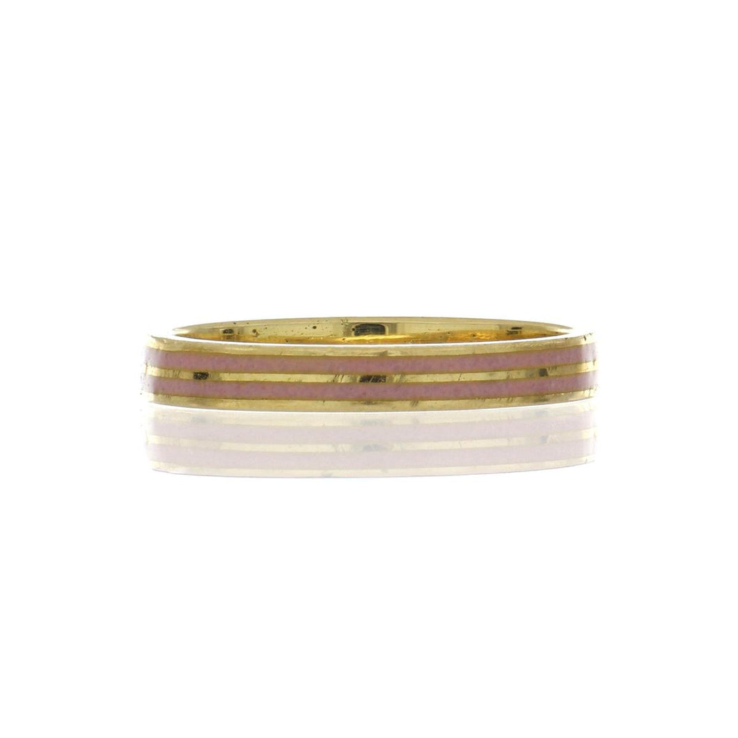 Estate 18K Gold Pink Enamel Band