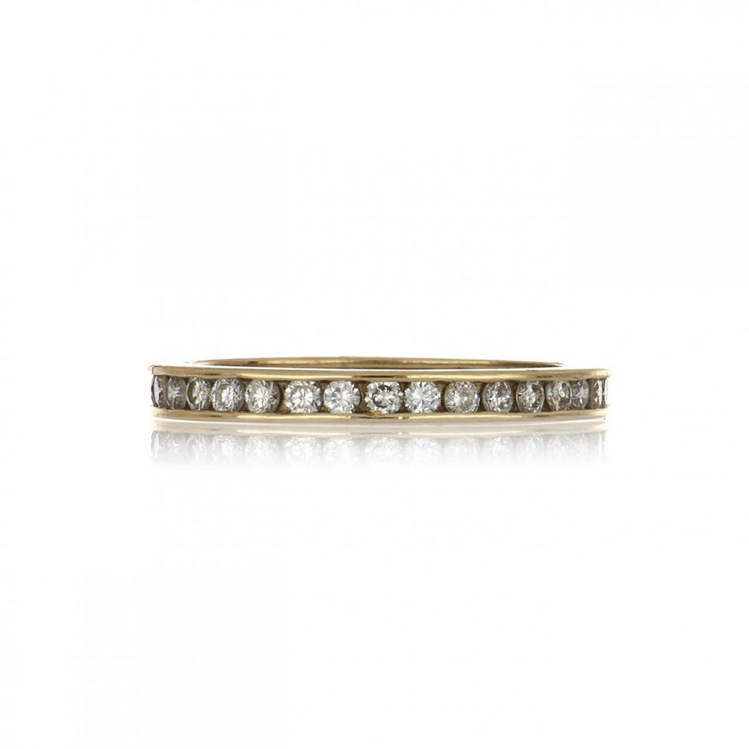 Estate 14K Gold Channel-Set Diamond Eternity Band