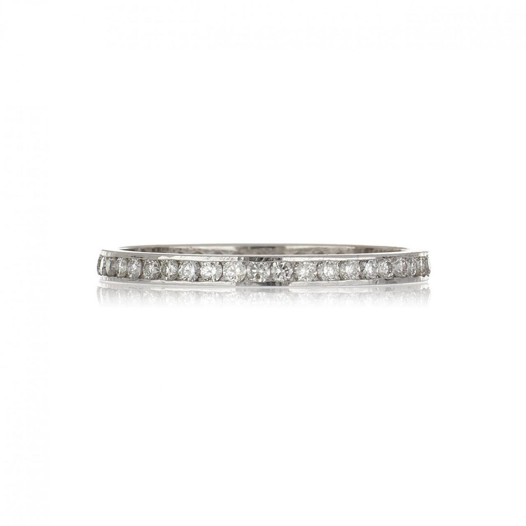 Estate 18K White Gold Narrow Channel-Set Diamond Eternity Band
