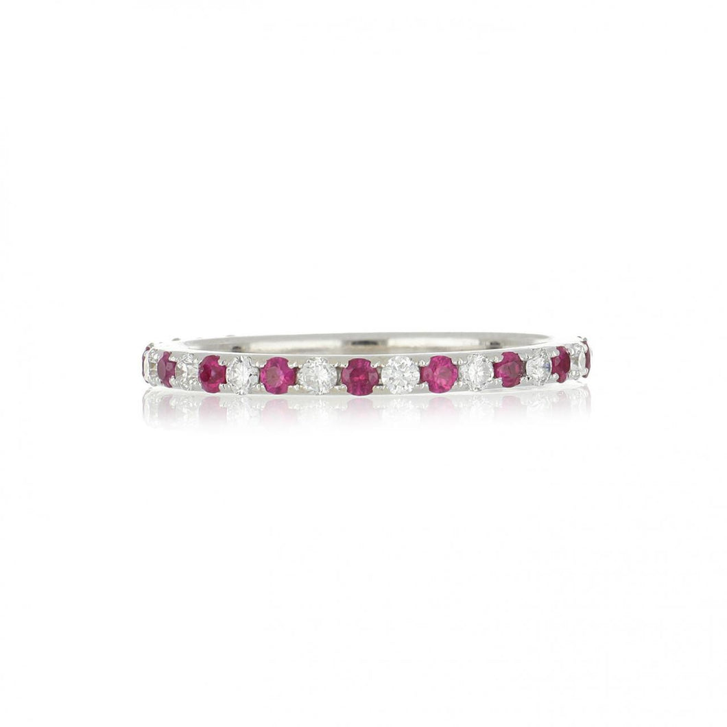 Estate 18K White Gold Alternating Ruby and Diamond Band