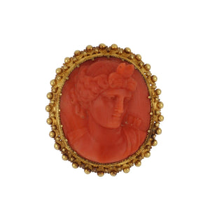 Antique Victorian Etruscan Revival 18K Gold Coral Cameo Ring