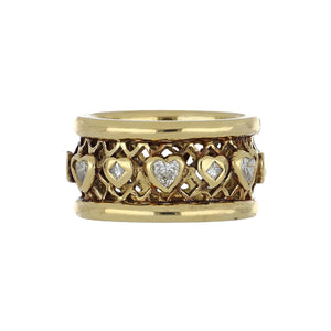 Estate 18K Gold Diamond Heart Band