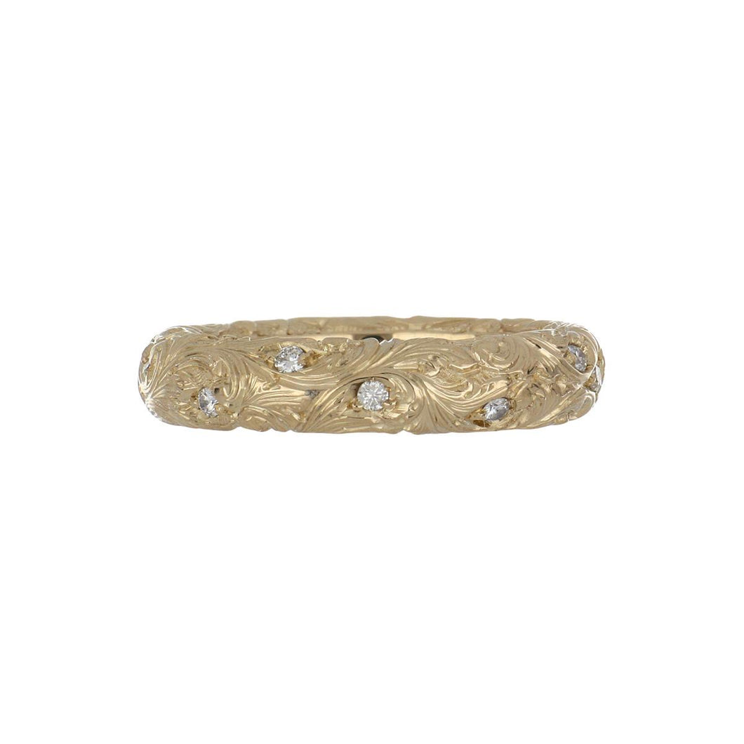 Estate 18K Gold Carved Scroll Band with Diamonds