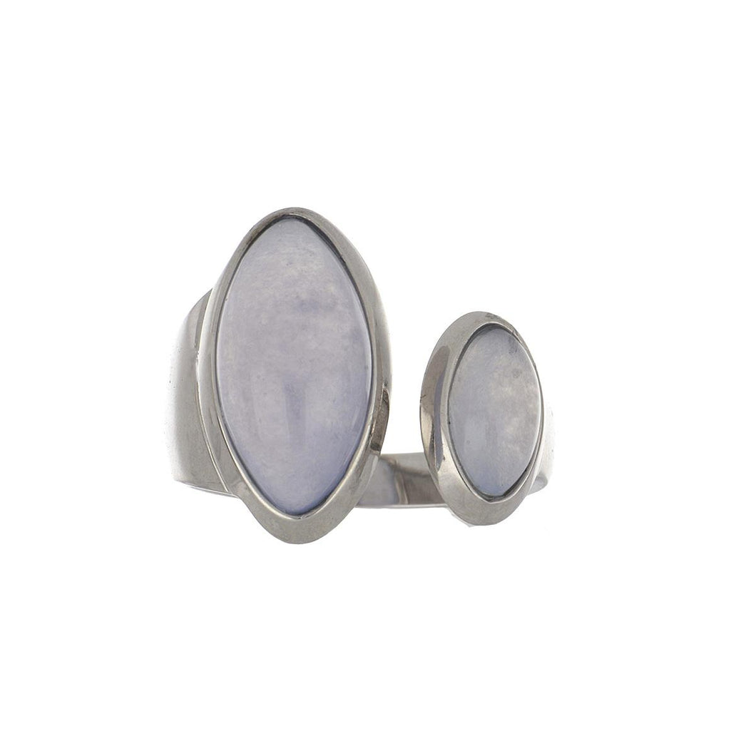 Estate 18K White Gold Double Marquoise Cabochon Blue Chalcedony Ring