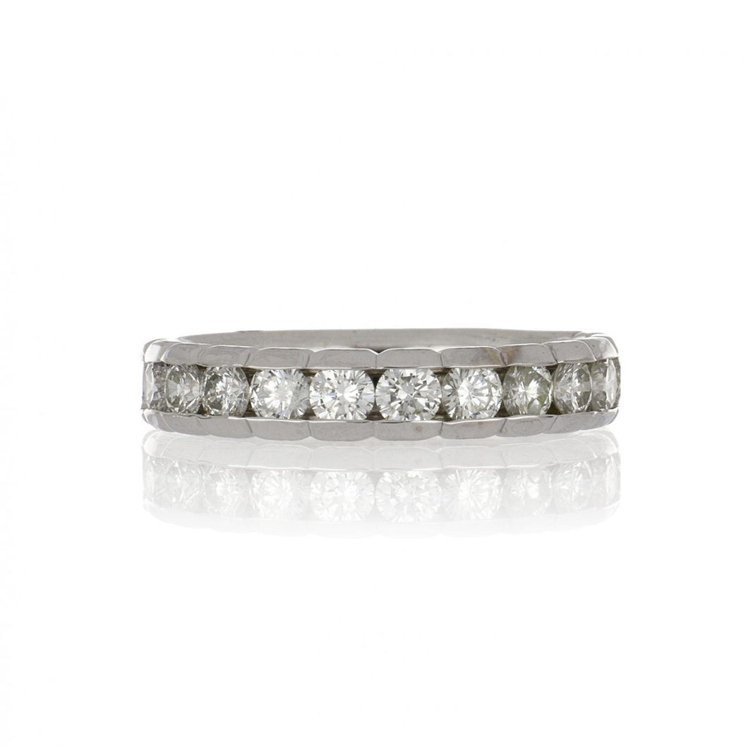 Estate 14K White Gold Band with Diamonds