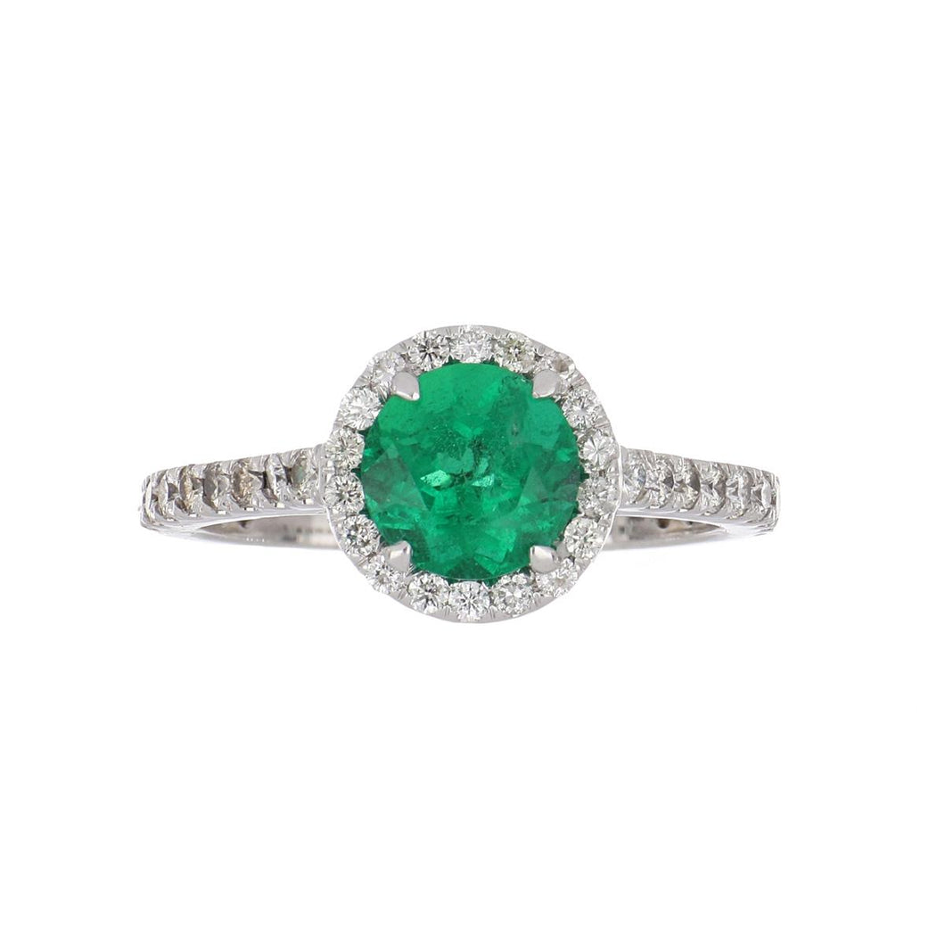 Estate 14K White Gold Emerald Ring with Diamond Halo
