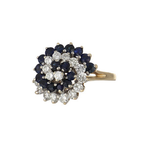 Estate 14K Gold Sapphire and Diamond Swirl Cluster Ring