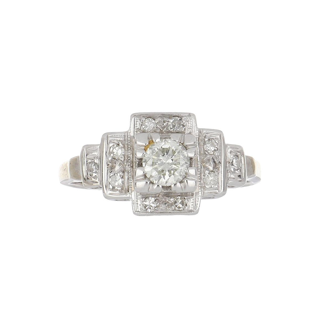 Art Deco 14K White Gold Illusion-Set Diamond Engagement Ring with Step-Down Shoulders