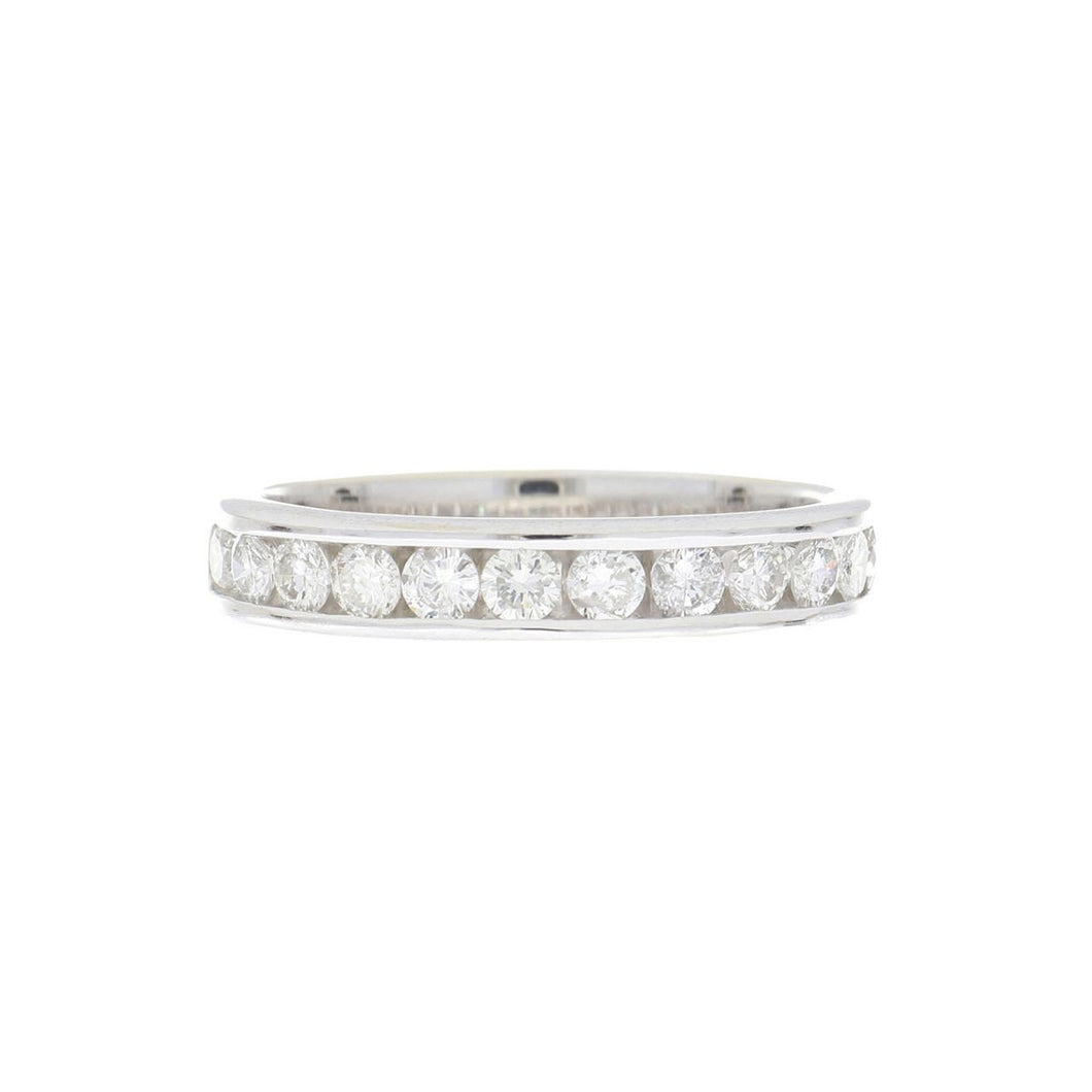 Estate 14K White Gold Channel-Set Diamond Half Eternity Band