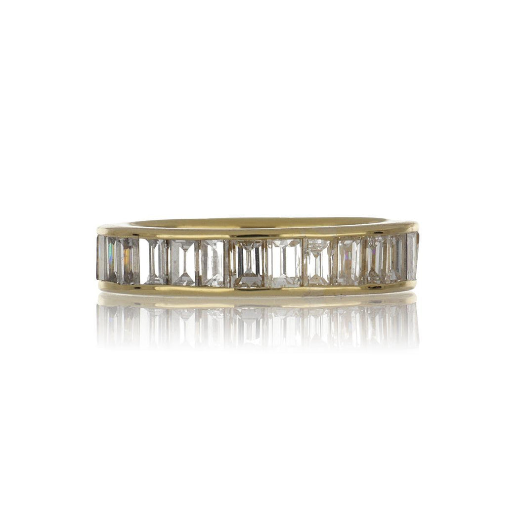 Estate 18K Gold Channel-Set Vertical Baguette Diamond Eternity Band