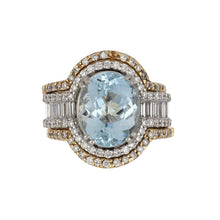 Load image into Gallery viewer, Estate 18K White Gold Oval Aquamarine Ring with 14K Gold Diamond Ring Guards