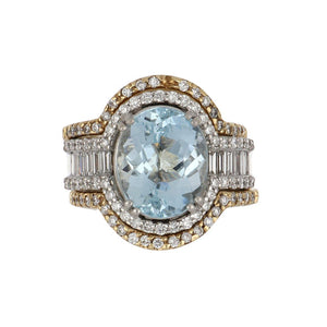 Estate 18K White Gold Oval Aquamarine Ring with 14K Gold Diamond Ring Guards