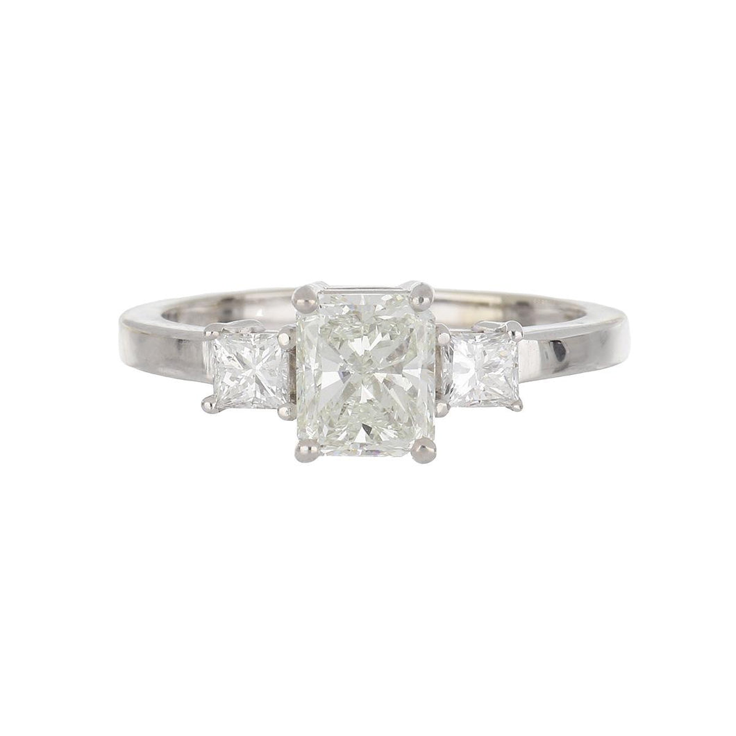 Estate 18K White Gold Radiant Diamond Engagement Ring