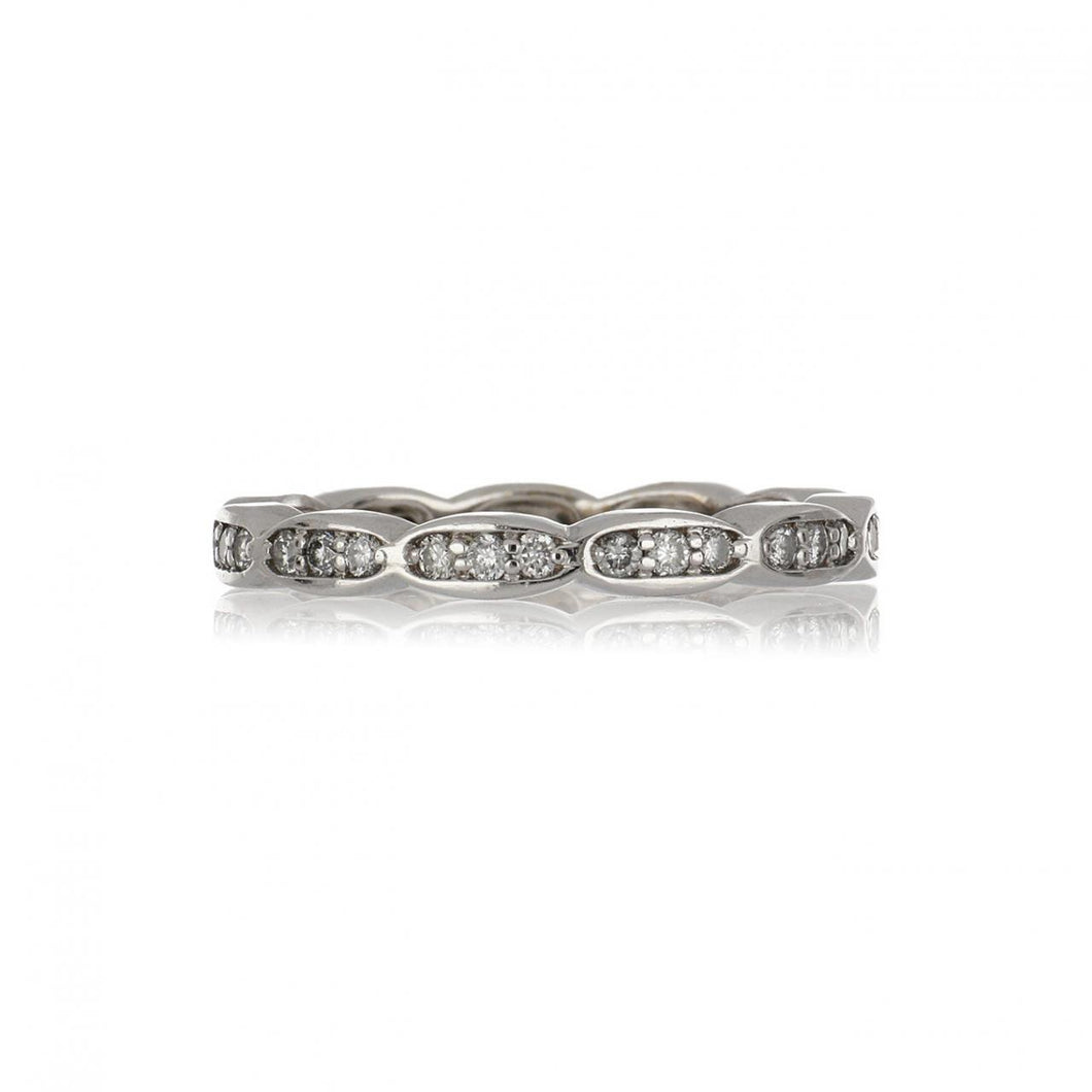 Estate 18K White Gold Scalloped Edge Diamond Eternity Band