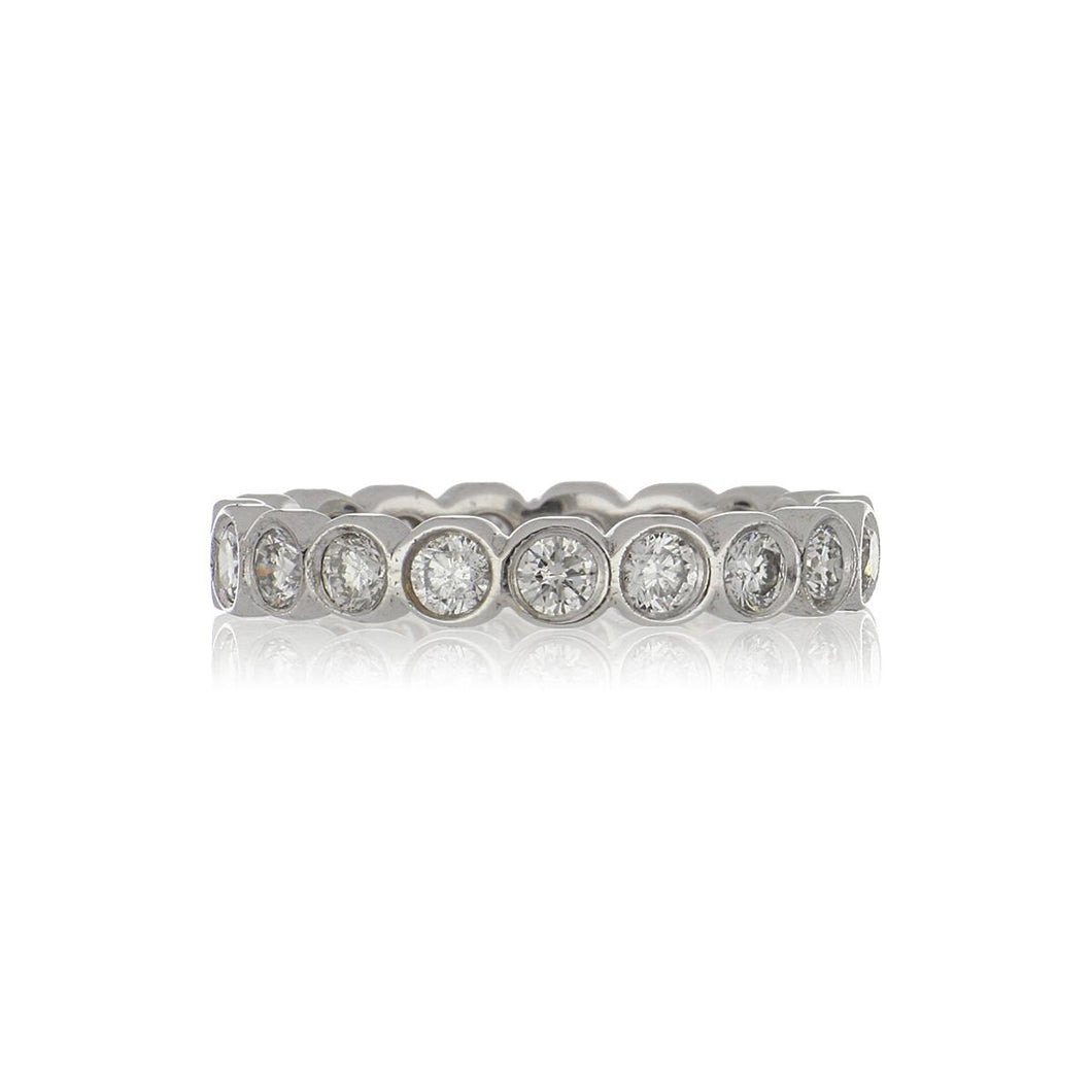 Estate 18K White Gold Bezel-Set Diamond Eternity Band