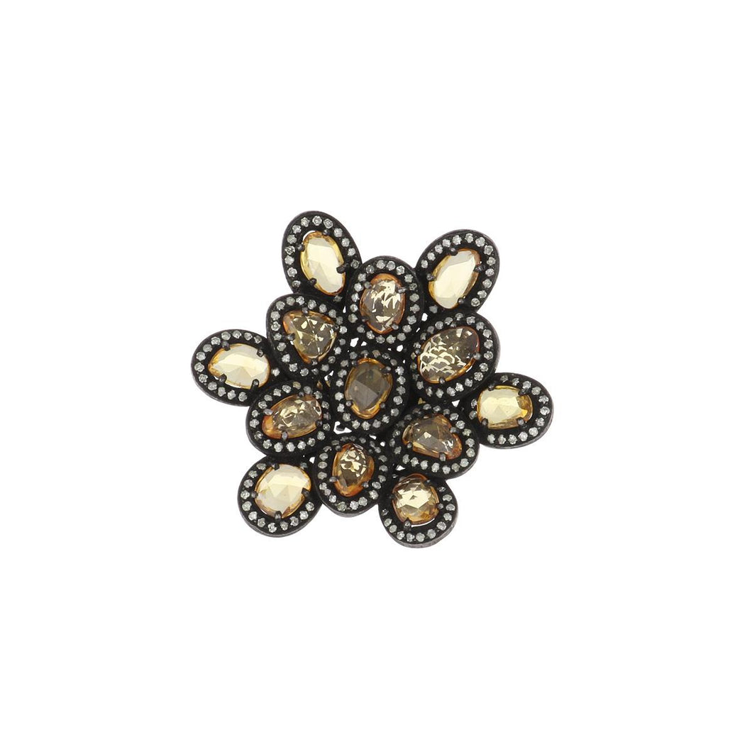 14K Gold and Sterling Silver Golden Sapphire and Diamond Cluster Ring