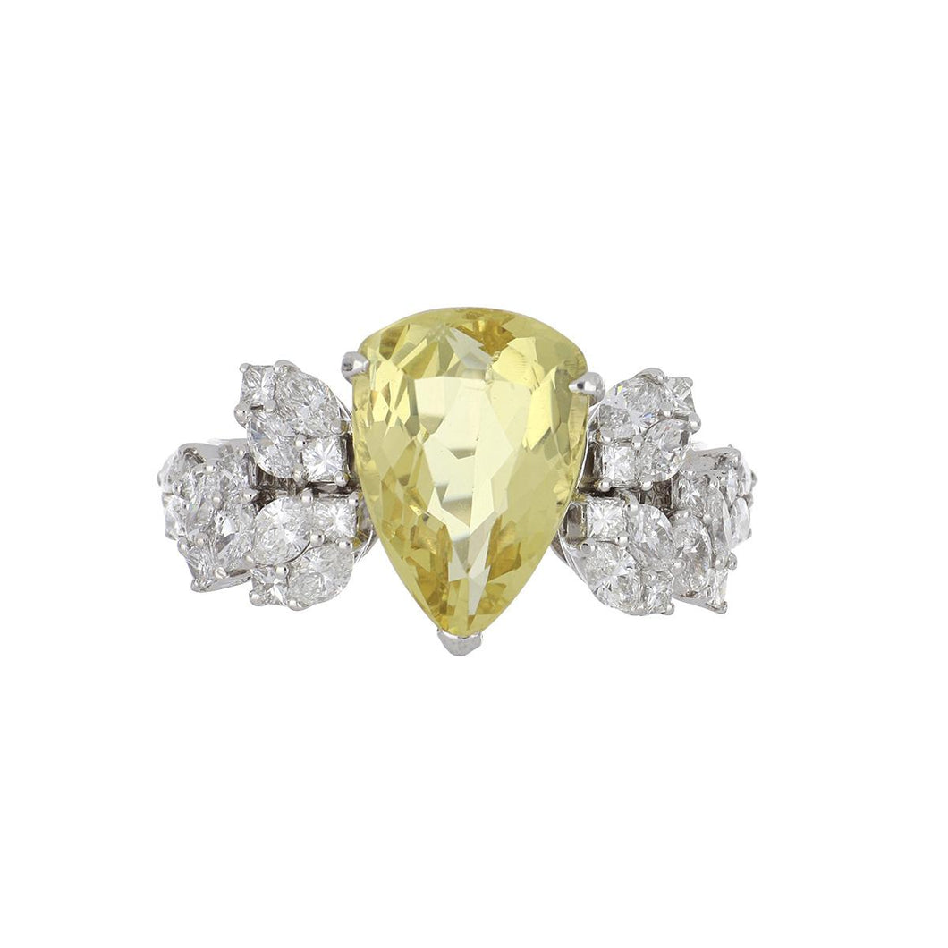 Estate 18K White Gold Pear Shape Heliodore and Diamond Ring