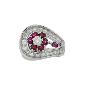 Estate 18K White Gold Ruby and Diamond Openwork Ring