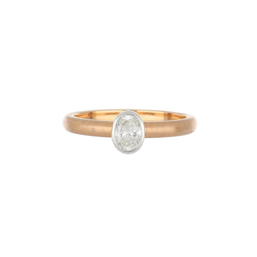18K Rose and White Gold Matte Finish Oval Diamond Ring