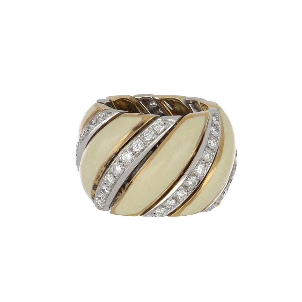 Estate 18K Gold Ring with Diamonds and Cream Enamel