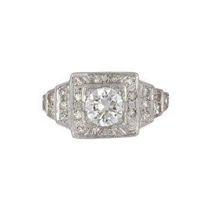Art Deco Platinum Illusion-Set Diamond Engagement Ring with Stepped Shoulders