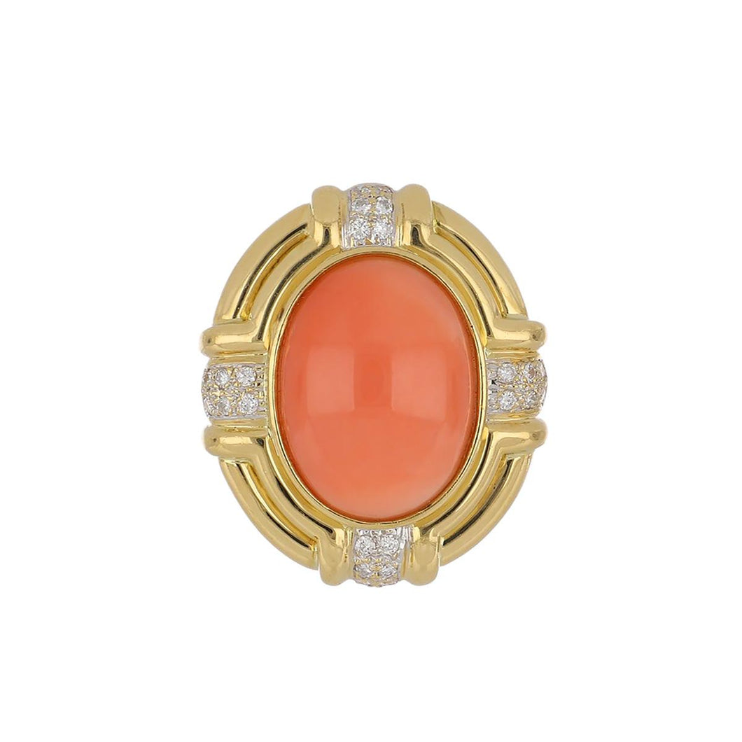 Estate 18K Gold Cabochon Coral and Diamond Ring
