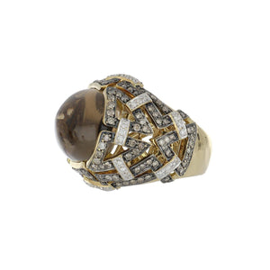 Estate 18K Gold Smoky Quartz and Brown and White Diamond Geometric Openwork Ring