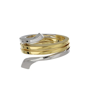 Damiani 18K Two-Tone Gold Polished Spiral Ring with Diamond