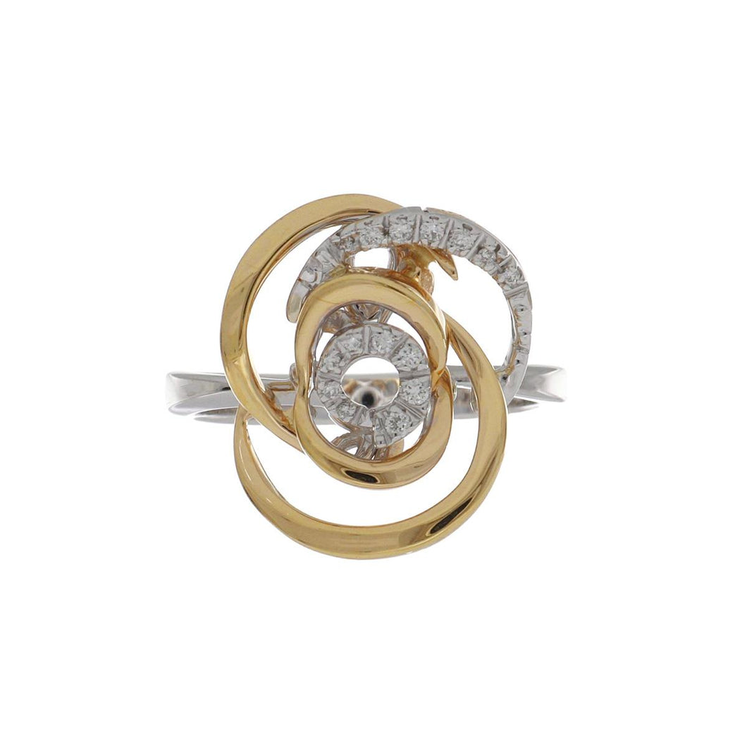 Damiani 18K Rose and White Gold Mini Rose Ring with Diamonds
