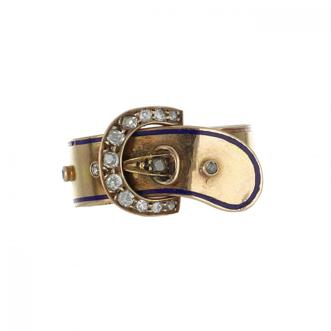 Antique Victorian 14K Gold Garter Buckle Ring with Blue Enamel with Diamonds