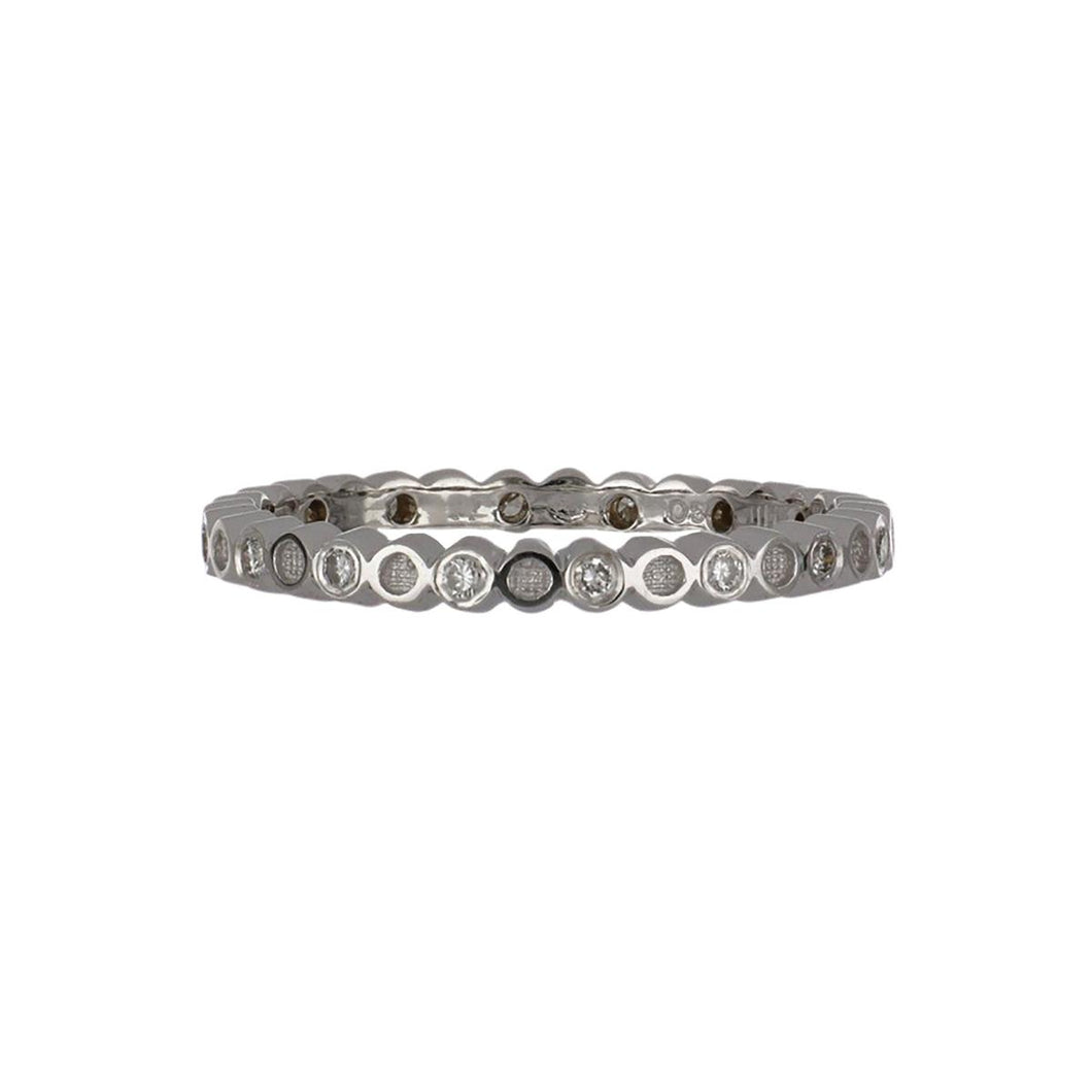Hidalgo 18K White Gold Alternating Diamond Band