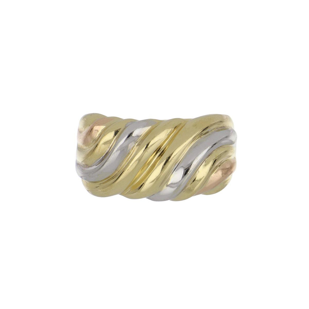 Estate 18K Tri-Color Wave Band