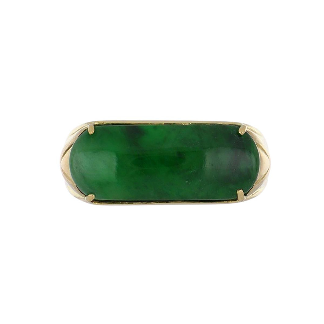 Estate 18K Gold and Jade Plaque Ring