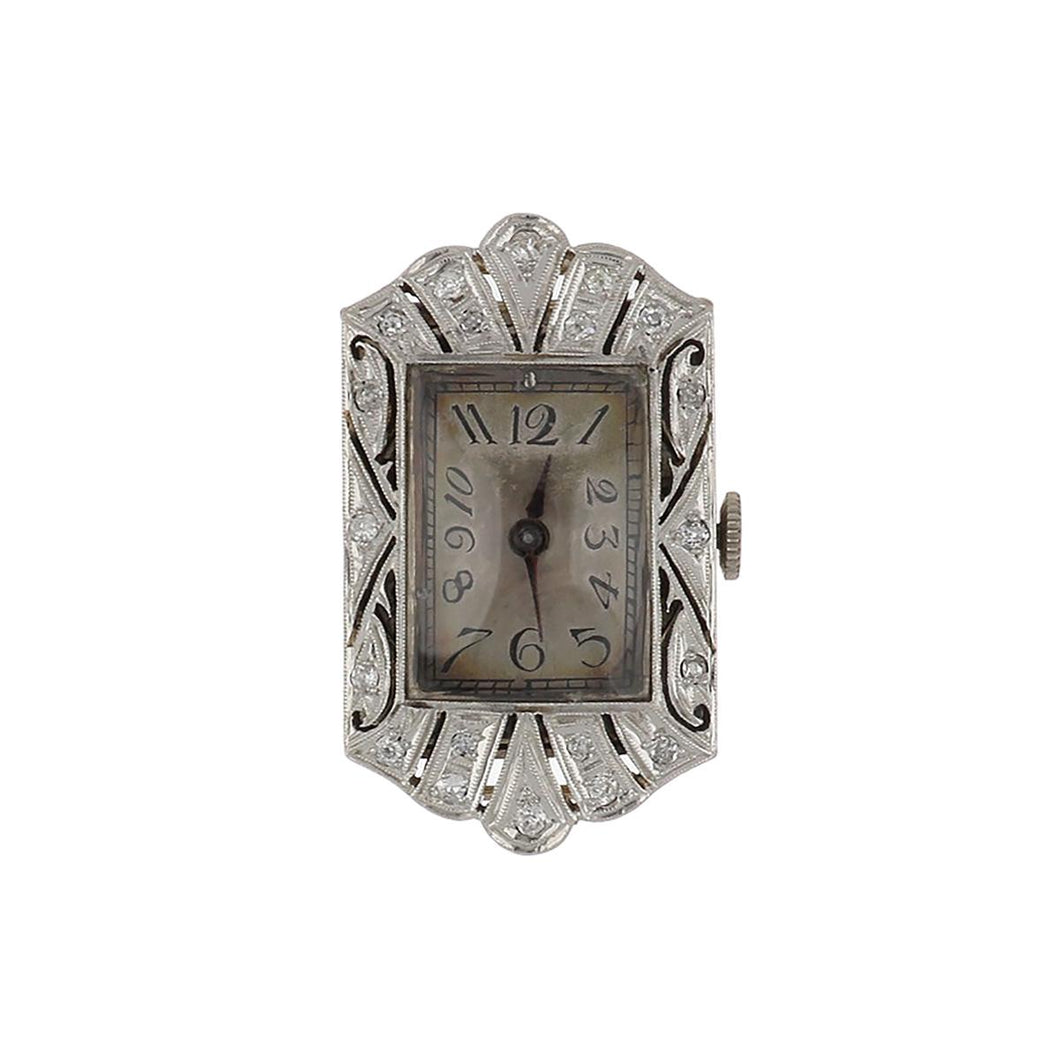 Art Deco Platinum and Diamond Openwork Watch Head