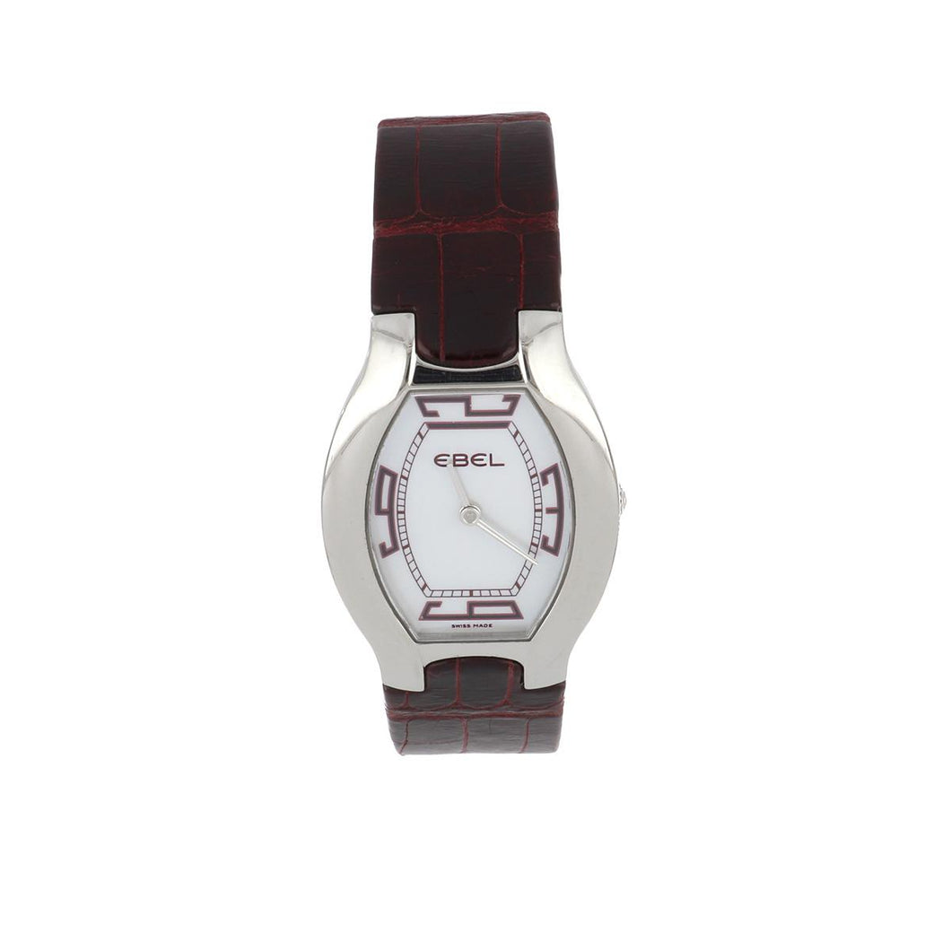Ebel Stainless Steel Beluga Watch with Burgundy Strap