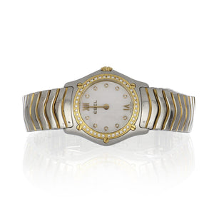 Ebel Stainless Steel and 18K Gold Wave Watch with Diamonds